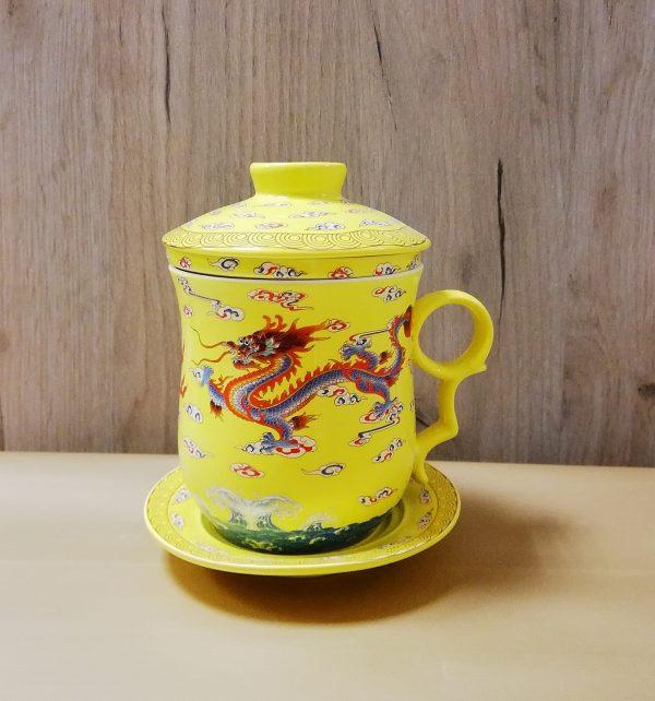 Чашка с заварочной колбой желтая 330мл